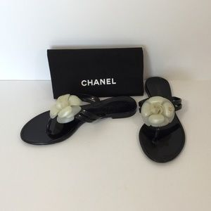 Chanel Jelly Camellia Thong Sandals